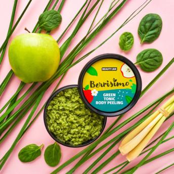 Scrub pentru corp cu alge verzi, extract de mar si ulei de lemongrass, Berrisimo, Beauty Jar, 400g