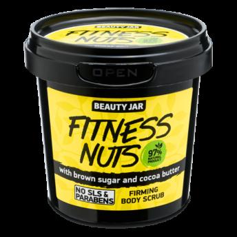 Scrub pentru fermitatea corpului, cu zahar brun si unt de cacao, Fitness Nuts, Beauty Jar, 200 g