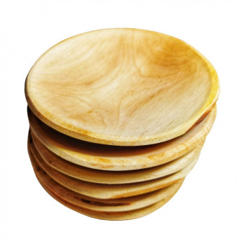 Set 6 platouri rotunde din lemn de arin, 15 cm