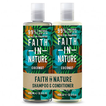 Set Sampon & Balsam cu Cocos, par normal sau uscat, Faith in Nature, 2 x 400 ml