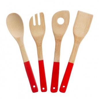 Set 4 Ustensile pentru Gatit din Bambus, 30 cm