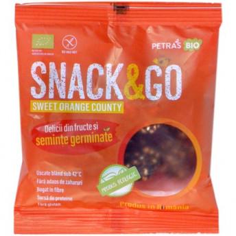 Snack eco cu portocale si seminte germinate, Petras Bio, 40 g