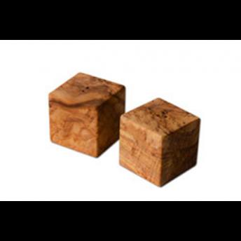 Set 2 solnite forma Cub, din Lemn de Maslin