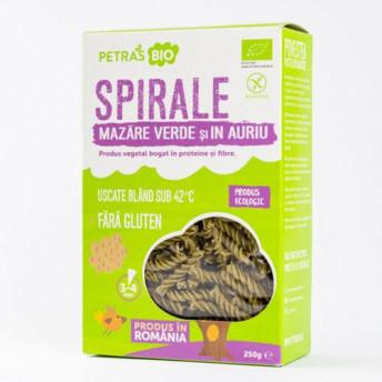 Paste Spirale ecologice cu mazare verde si in auriu, Petras Bio, 250g