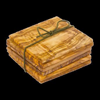 Set 6 Suport Pahare Lemn de Maslin,  9 x 9 cm
