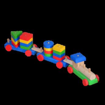 Trenulet din Lemn cu 16 Piese Demontabile, cu doua Vagoane, 3 ani +