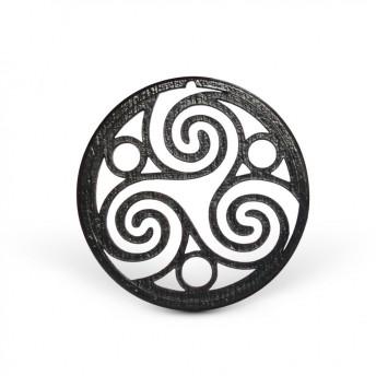 Amuleta din Lemn - The Trinity Spiral of Life, Negru