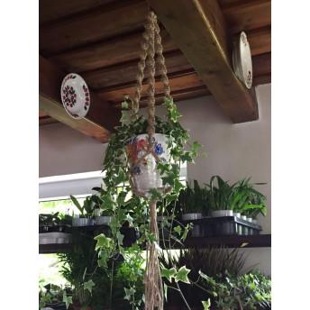 Suport suspendat, impletit manual, macrame, din sfoara de iuta pentru ghivece, Natur, 120 x 16 cm