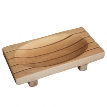 Sapuniera dreptunghiulara cu picioruse, lemn de Mahon, 16 x 6.8 cm